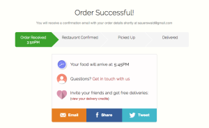 door dash screenshot - order confirmation