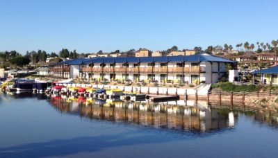 Lakehouse hotel & resort seen from across the Lake