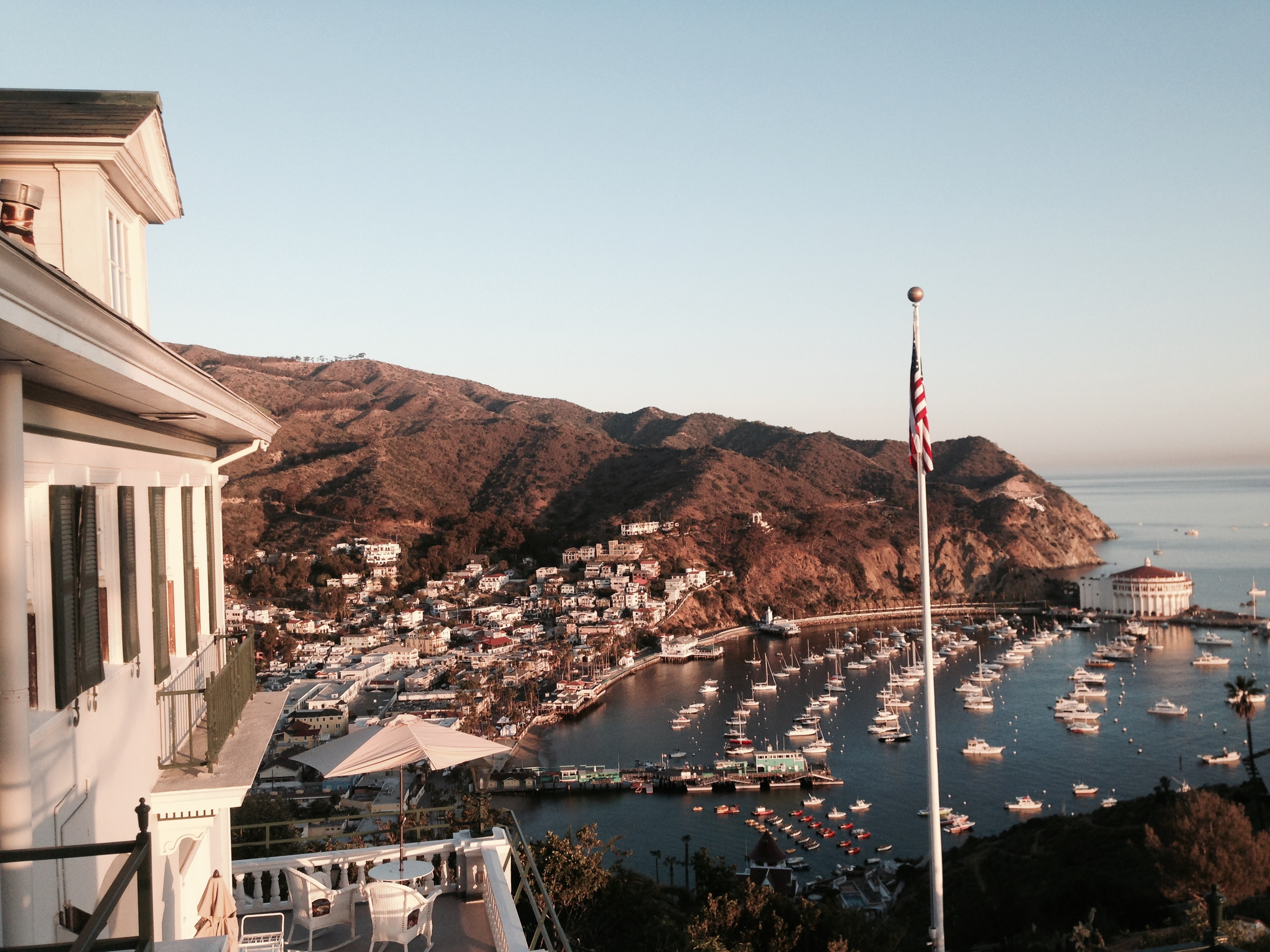 view of Avalon harbor at daybreak from Inn on Mt. Ada