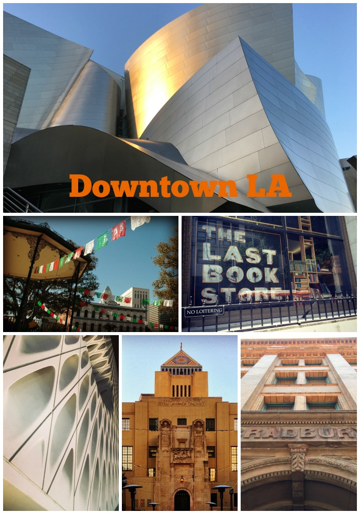 Things to do in Downtown Los Angeles (clockwise from top) Walt Disney Concert Hall The Last Bookstore The Bradbury Building Central Library The Broad Museum Olvera Street #LosAngeles #dtla #downtownlosangeles #visitcalifornia #thingstodoinlosangeles