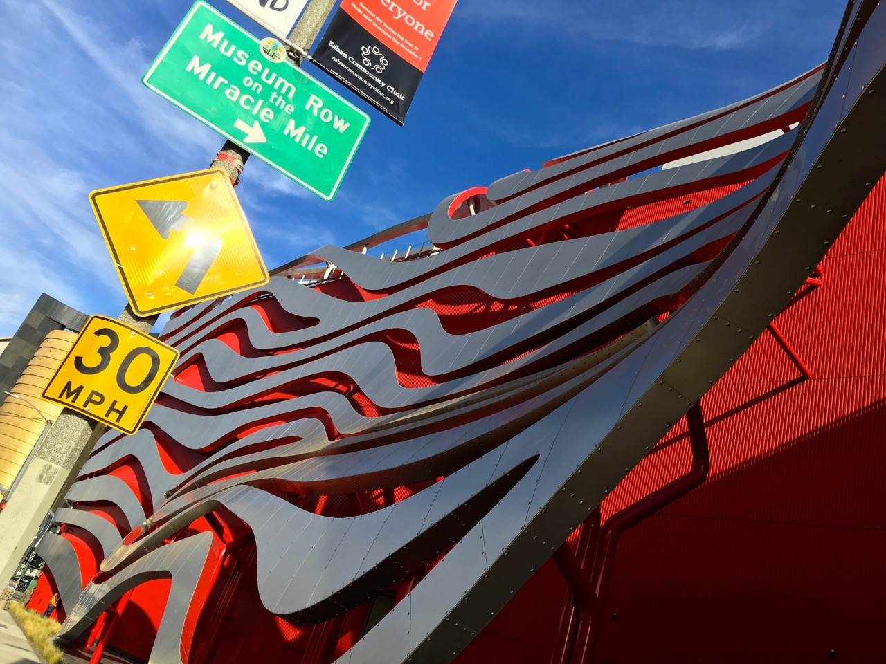 The Petersen Automotive Museum on Museum Row in Los Angeles. Museum Row is the stretch of Wilshire Boulevard that extends between Fairfax Avenue and La Brea Avenue.
