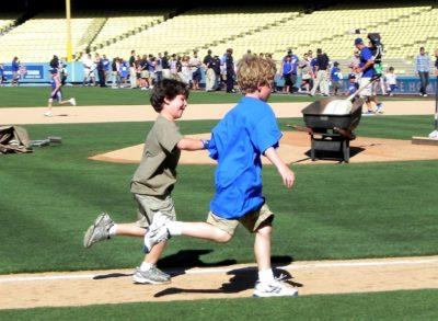 Running bases at Dodger Stadium