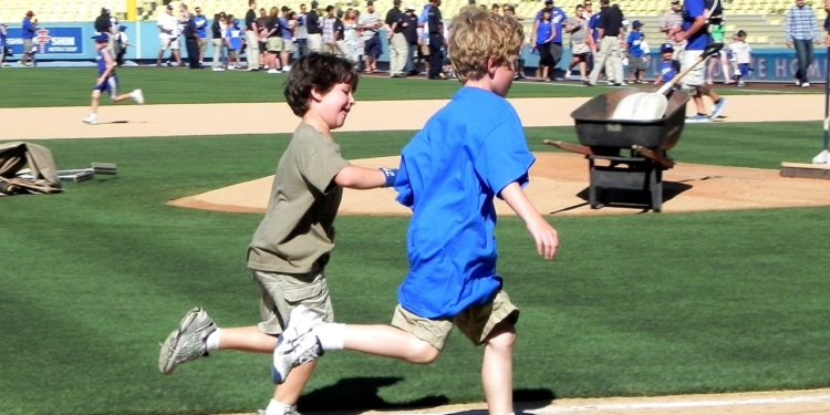 Running bases at Dodger Stadium