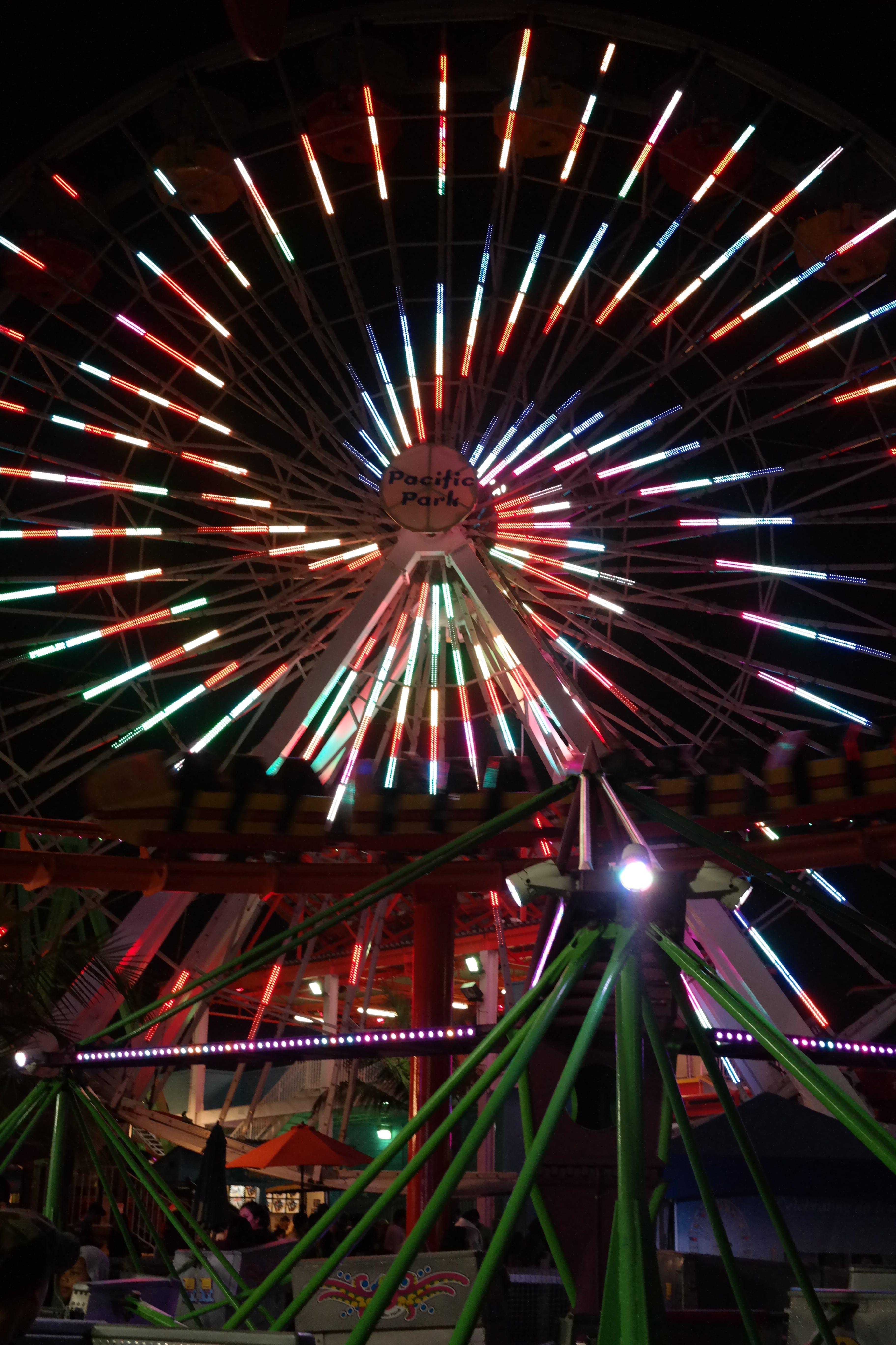 Santa Monica Pier ferris wheel lit up at night