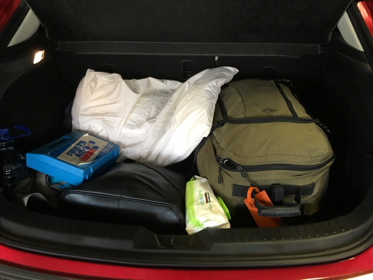 There was still room in the back of the car after I packed my giant suitcase, pillow, water, first aid kit, laptop bag, sleeping bag, etc.