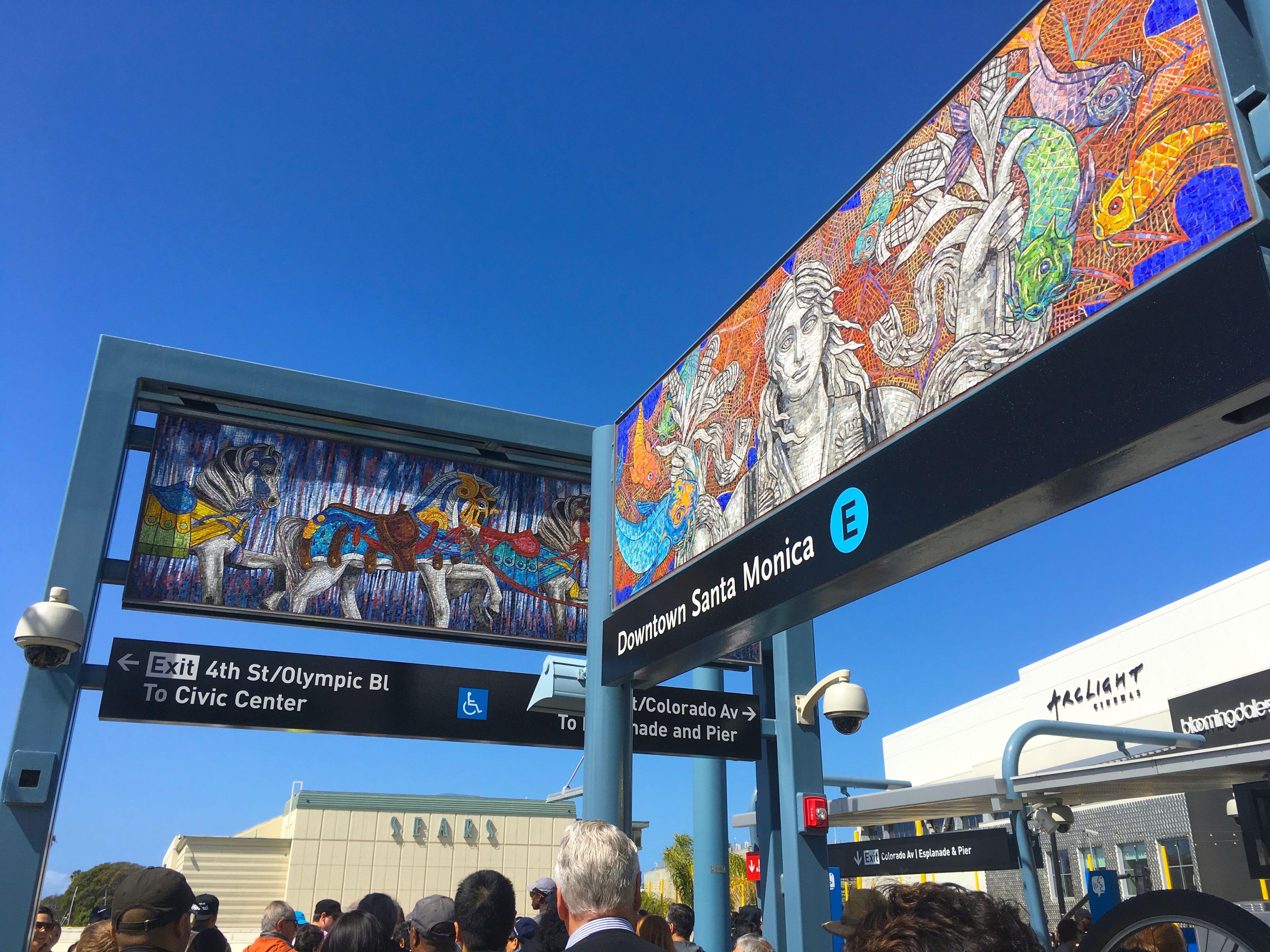 Opening day of Metro line to Santa Monica