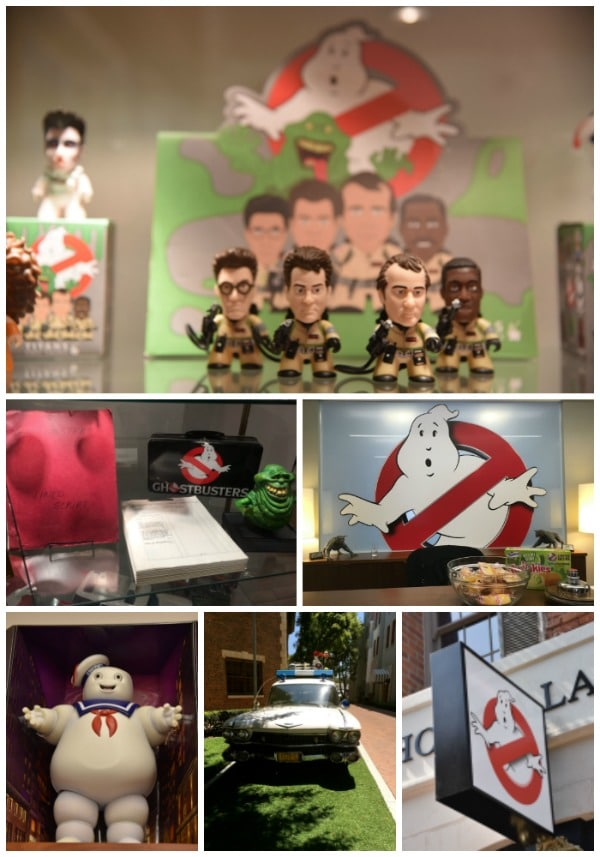 Memorabilia from the original Ghostbuster movies at Ghost Corps on the Sony Pictures Studio lot in Culver City, CA