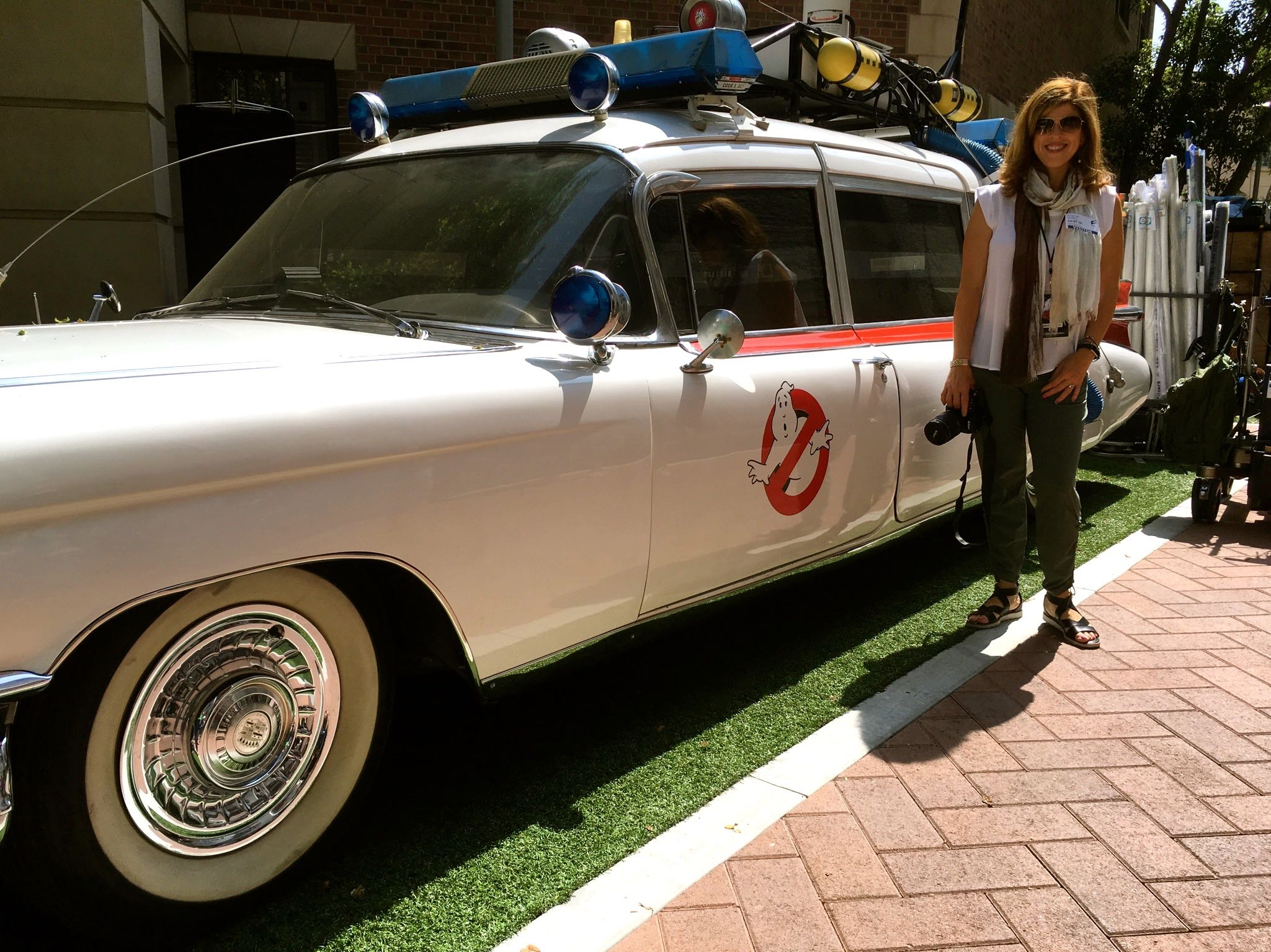 Ghostbusters Ecto-1 and Yvonne Condes at Sony Pictures Studio in Culver City, CA