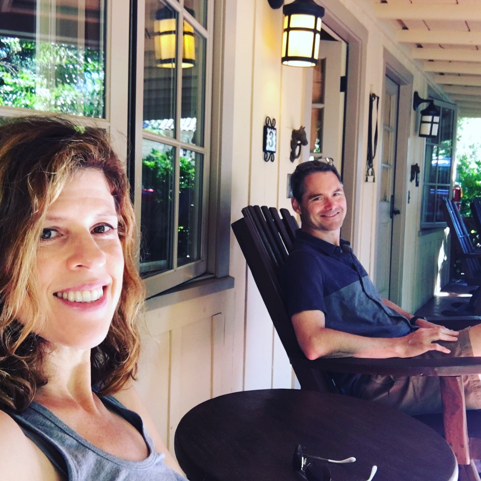 Yvonne and Husband on the porch at Holman Ranch