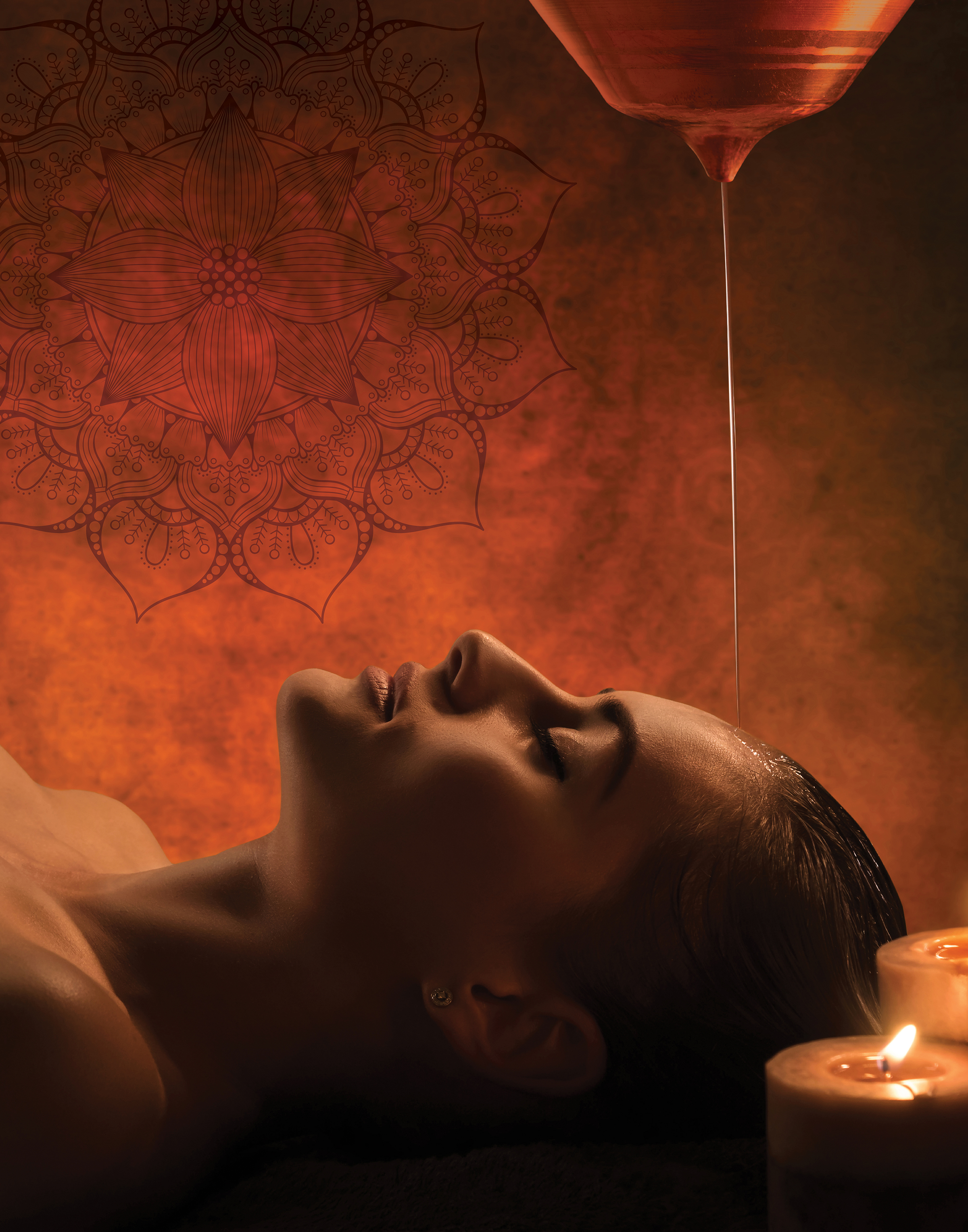 Burke Williams is offering a new Ayurvedic massage. The Shirodhara treatment is pictured here.