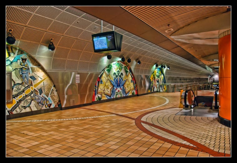 north hollywood arts district metro station interior showing tile work
