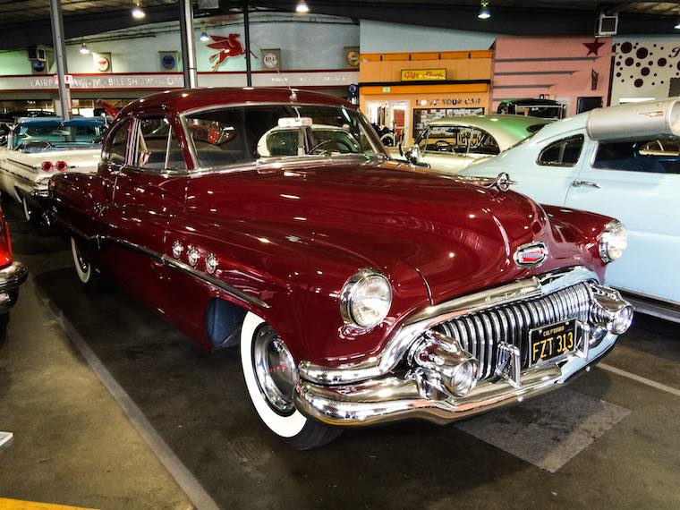 red vintage car at the Automobile Driving Museum in El Segundo, California
