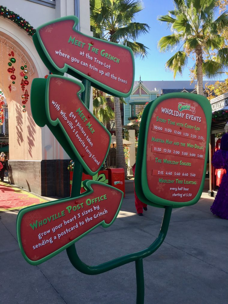 Event schedule at Grinchmas Universal Studios Hollywood