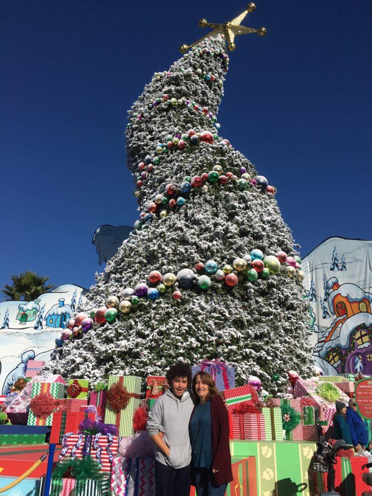 curved Christmas tree at Grinchmas Universal Studios Hollywood