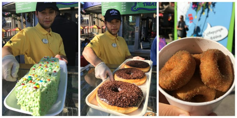 donuts and rice krispie treats at Grinchmas Universal Studios Hollywood