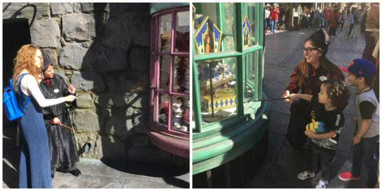 using wands at Wizarding World of Harry Potter