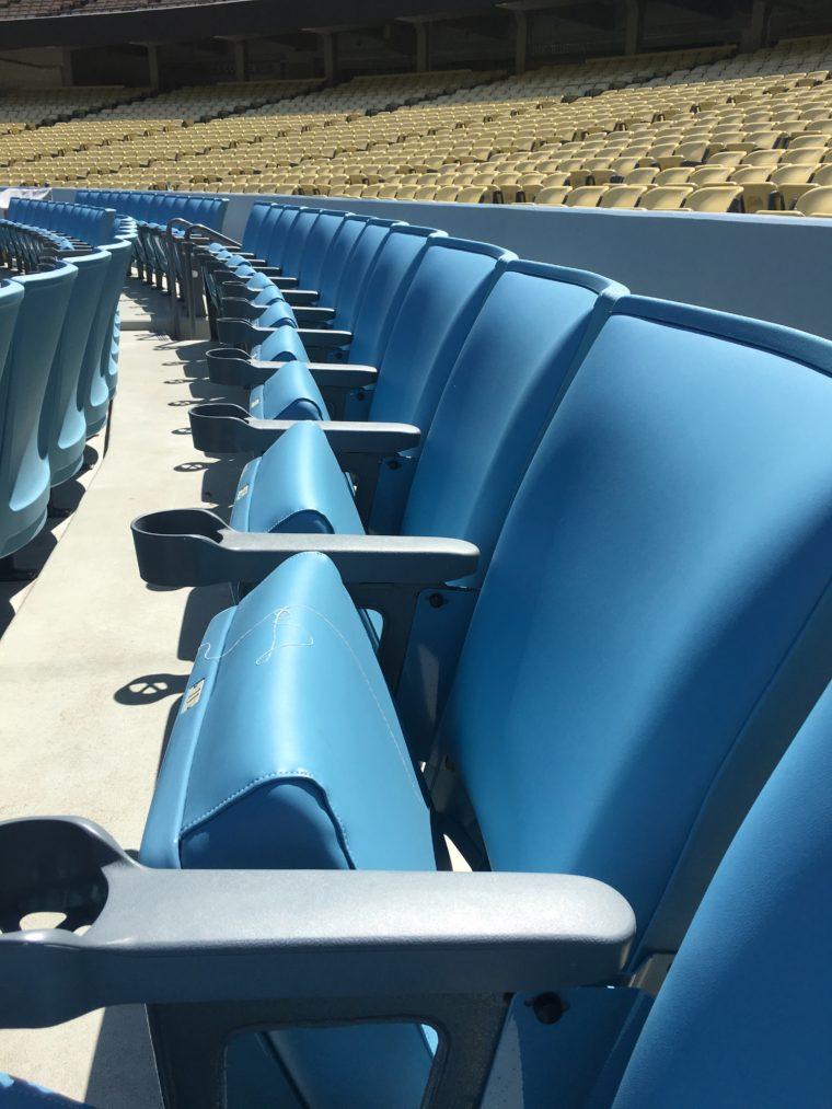new blue seats at Dodger Stadium