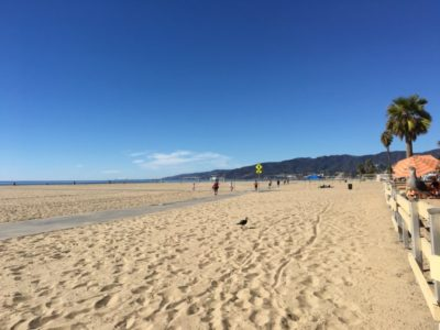 The strand in Santa Monica is a great place to walk your stroller.