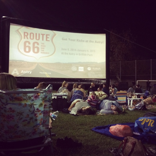 movie screen set up outdoors in Los Angeles