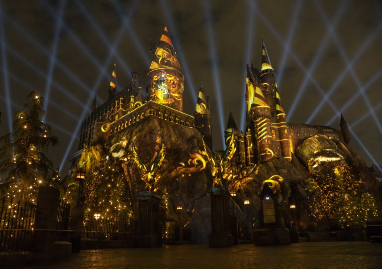 The Nighttime Lights at Hogwarts Castle Universal Studios Hollywood Yellow