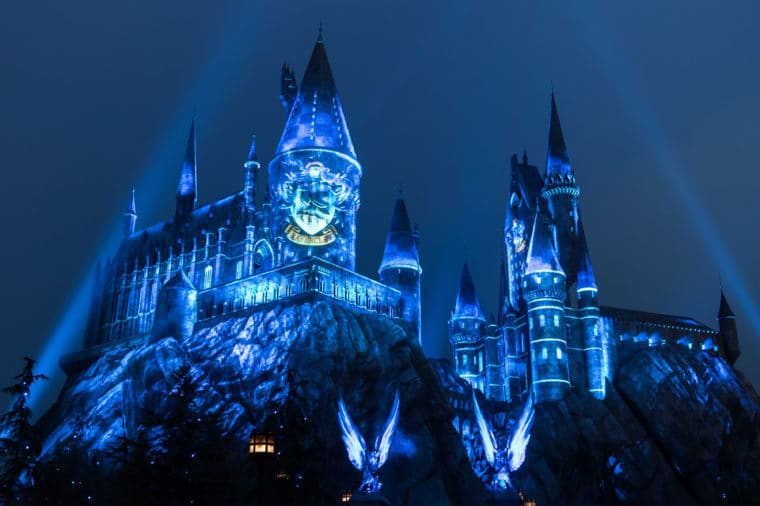 The Nighttime Lights at Hogwarts Castle Universal Studios Hollywood