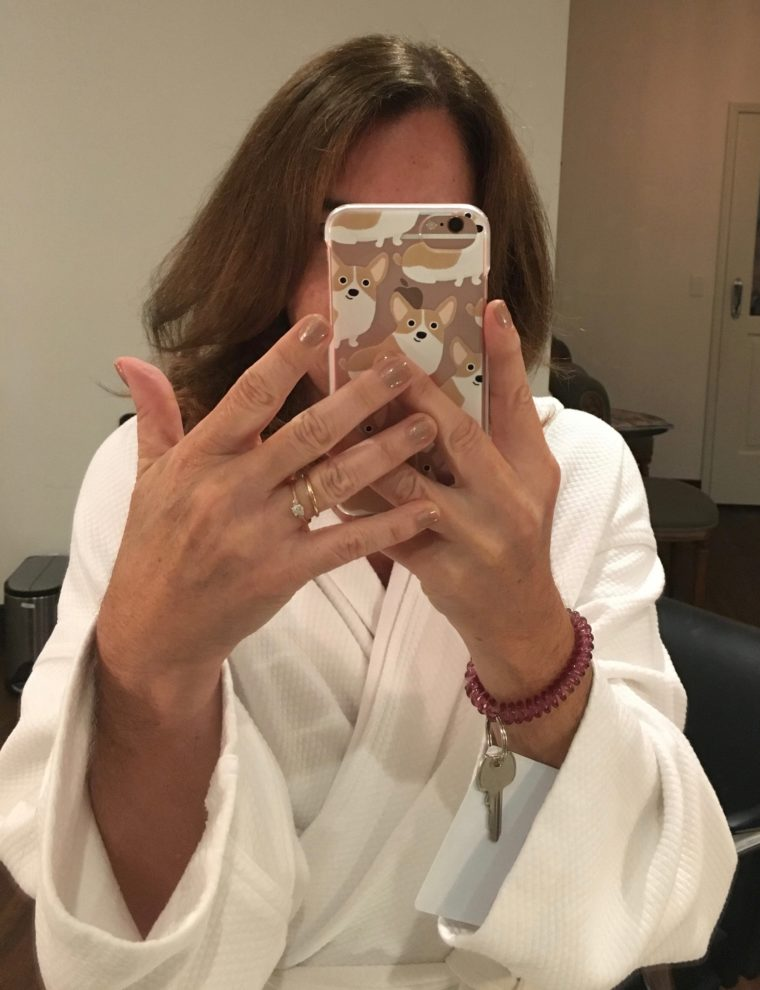Sarah with her hair and nails done at Burke Williams Hollywood spa
