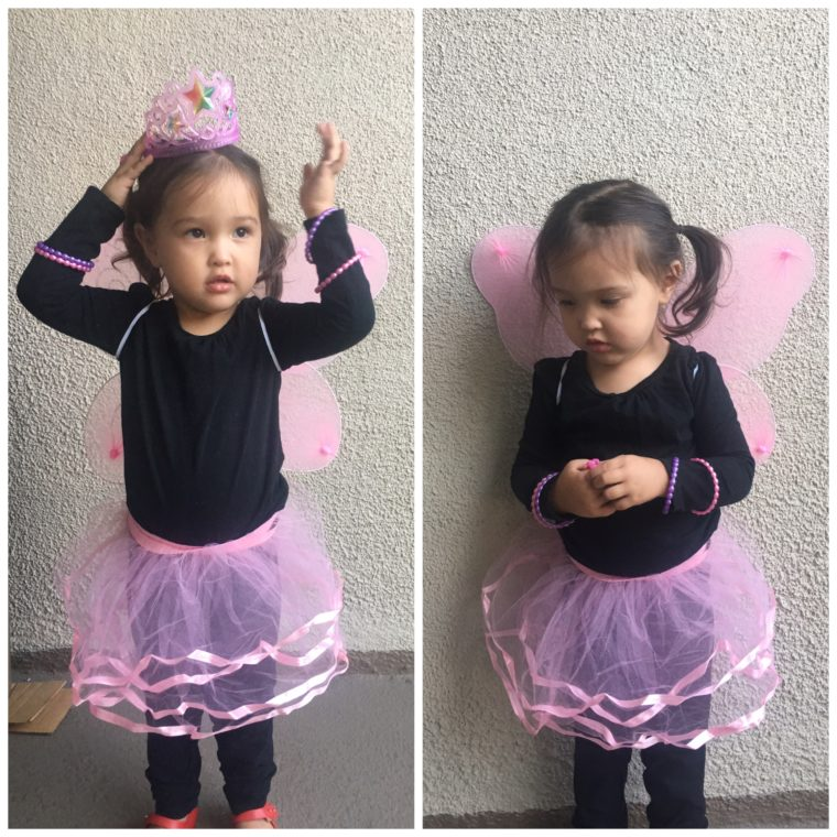 Easy and low-cost DIY costumes for toddlers. #halloween #costumes #toddlercostumes #fairycostume