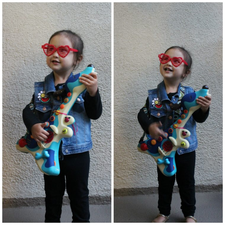 Easy and low-cost DIY costumes for toddlers. #halloween #costumes #toddlercostumes #rockstarcostume