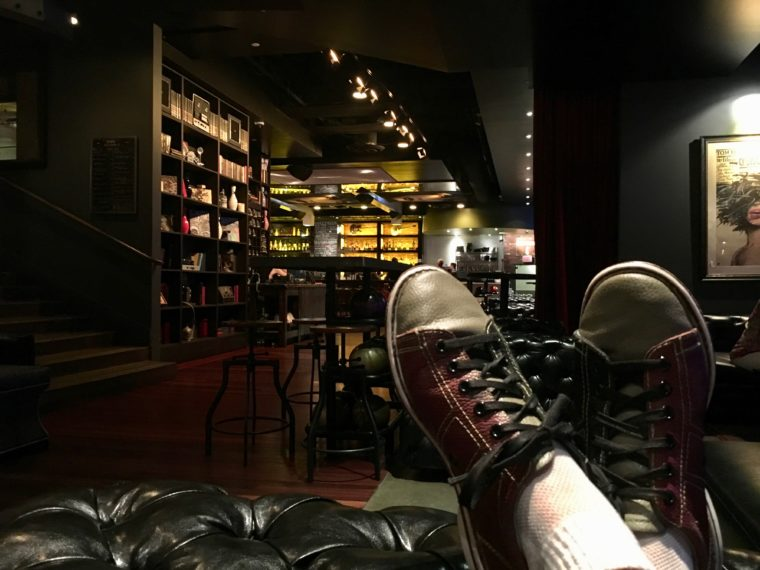 hipster shoes and decor at Lucky Strike