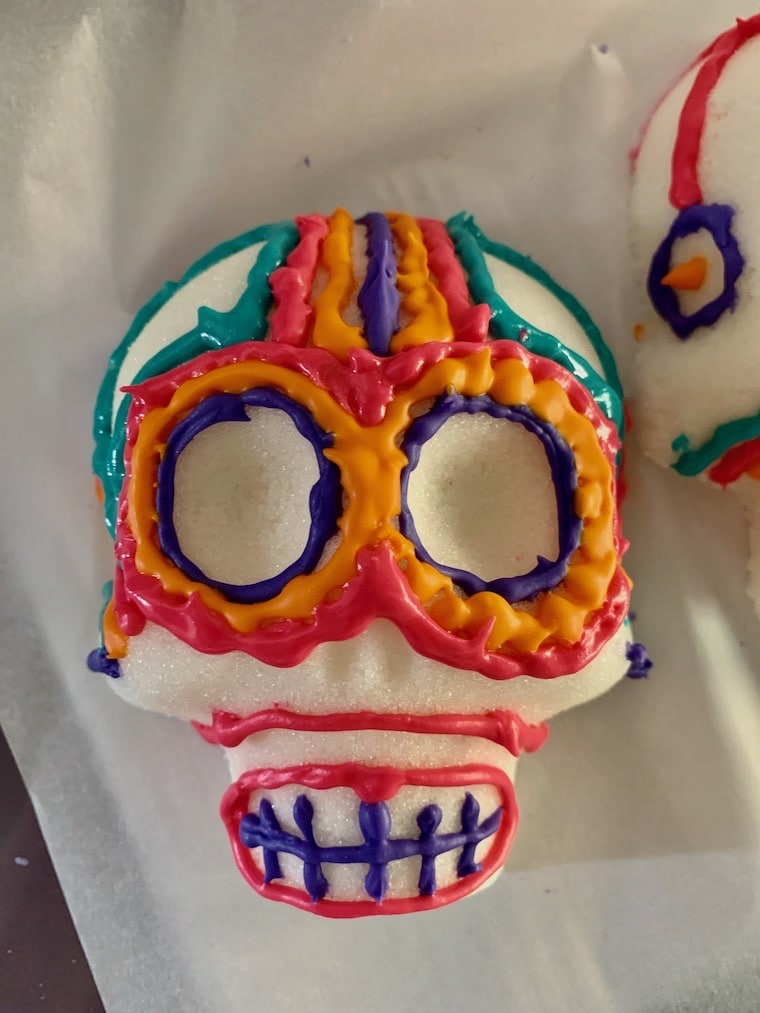 sugar skull decorated for day of the dead