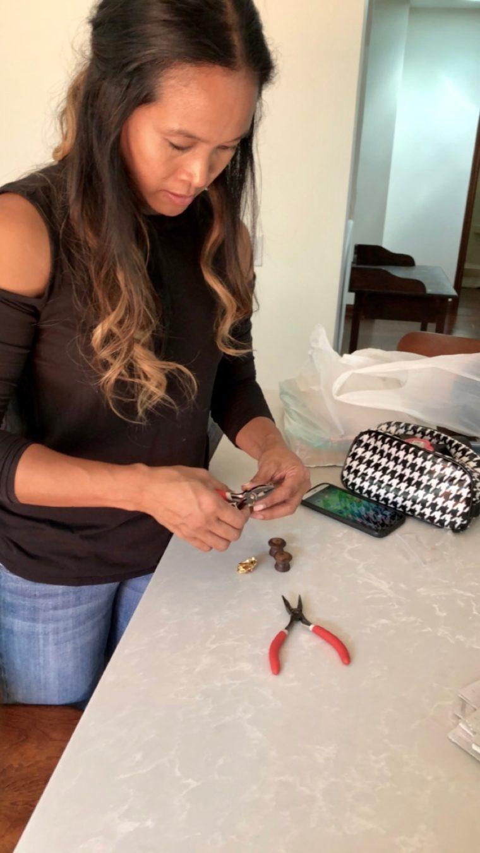 Dinah Wulf making new drawer knobs