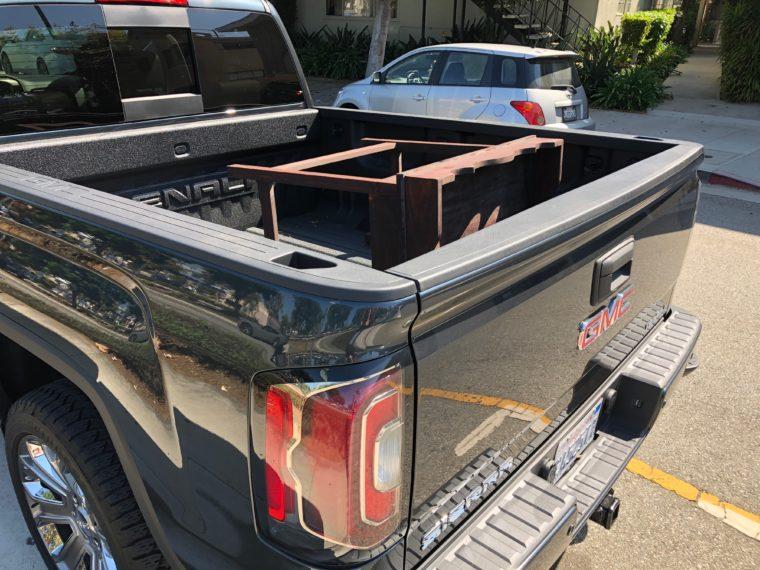 Hauling furniture in the GMC Sierra Denali