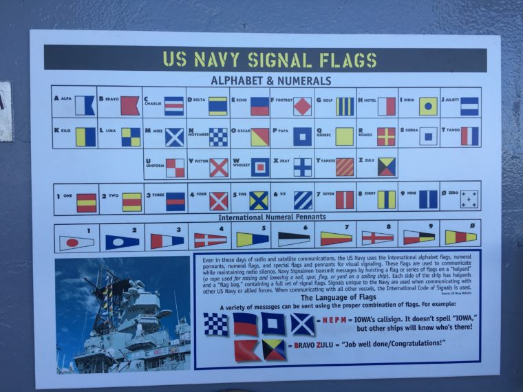Navy signal flag key USS Battleship Iowa Museum in San Pedro