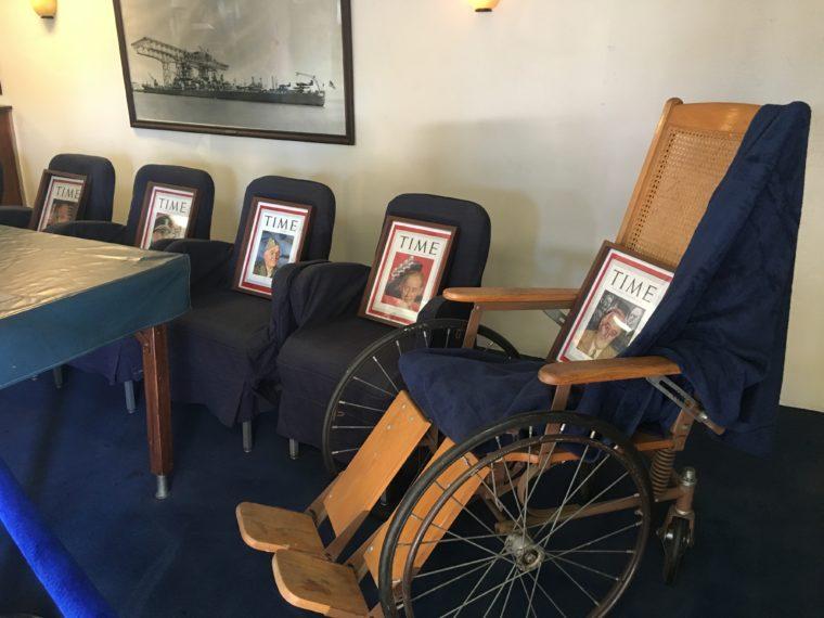 Roosevelts chair USS Battleship Iowa Museum in San Pedro
