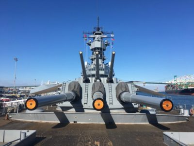 front angle of the guns USS Battleship Iowa Museum in San Pedro
