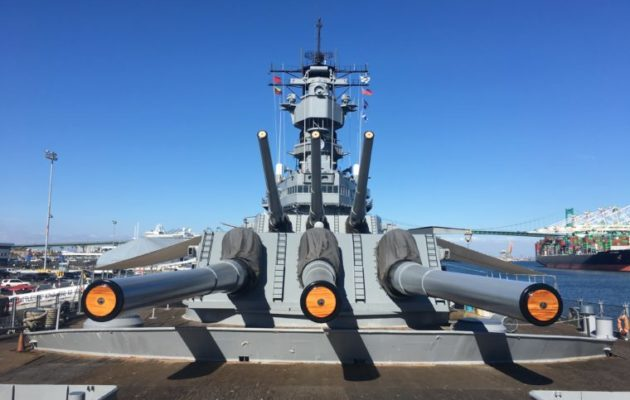 front angle of the guns USS Battleship Iowa Museum in San Pedro