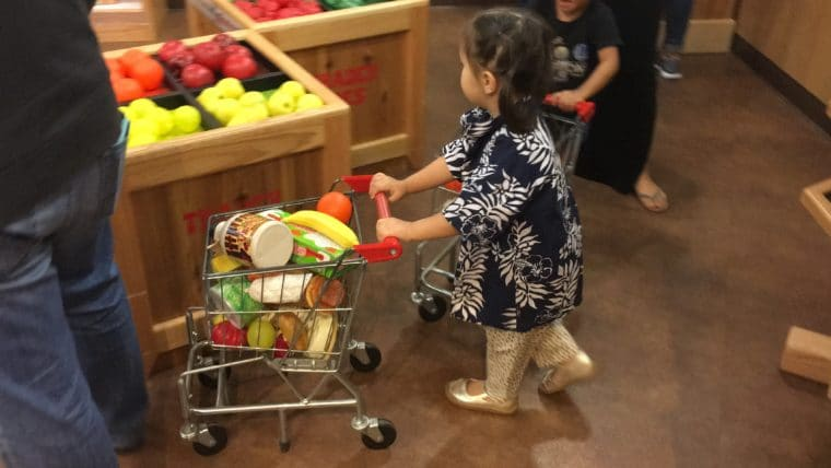 Kids can do so many fun things at Pretend City like grocery shopping!
