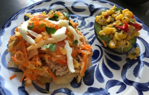 One Potato Meal - Arepas with chicken and stuffed avocado with corn salas. #feedingkids #healthymeals #onepotato