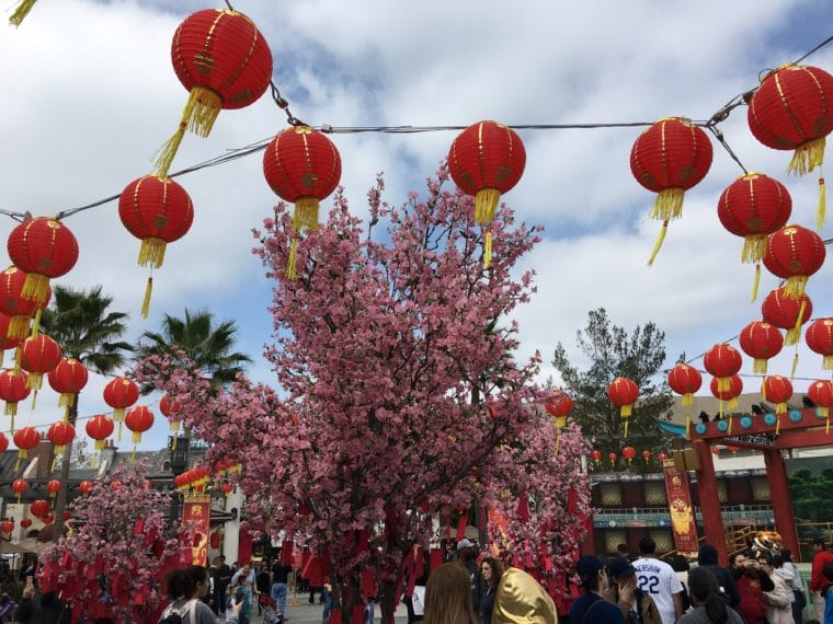 Universal Plaza decorated for Lunar New Year at Universal Studios Hollywood