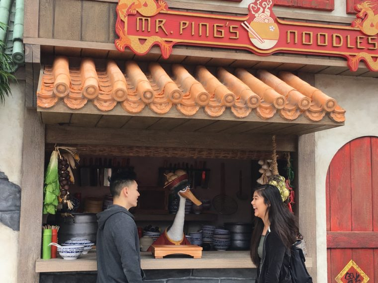 couple meeting Mr. Ping at the Noodle shop for Lunar New Year at Universal Studios Hollywood