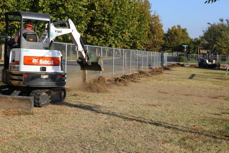 bobcat digger breaking ground at Shannon Ranch elementary school scholar dollars winner