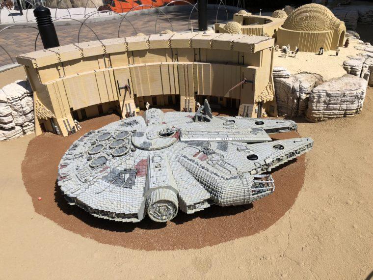 Millennium Falcon at LEGOLAND California. #legoland #familytravel #legos #familyvacation #californiavacation #Millenniumfalcon #legoMillenniumfalcon