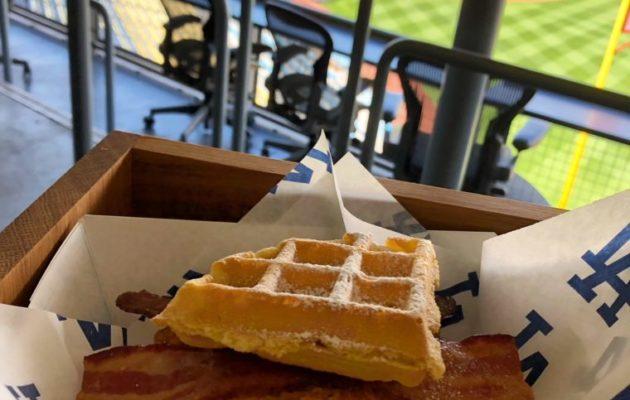 Chicken and Waffle Sammy at Dodger Stadium. #Gododgers #dodgers #baseball #ballparkfood #chickenandwaffles
