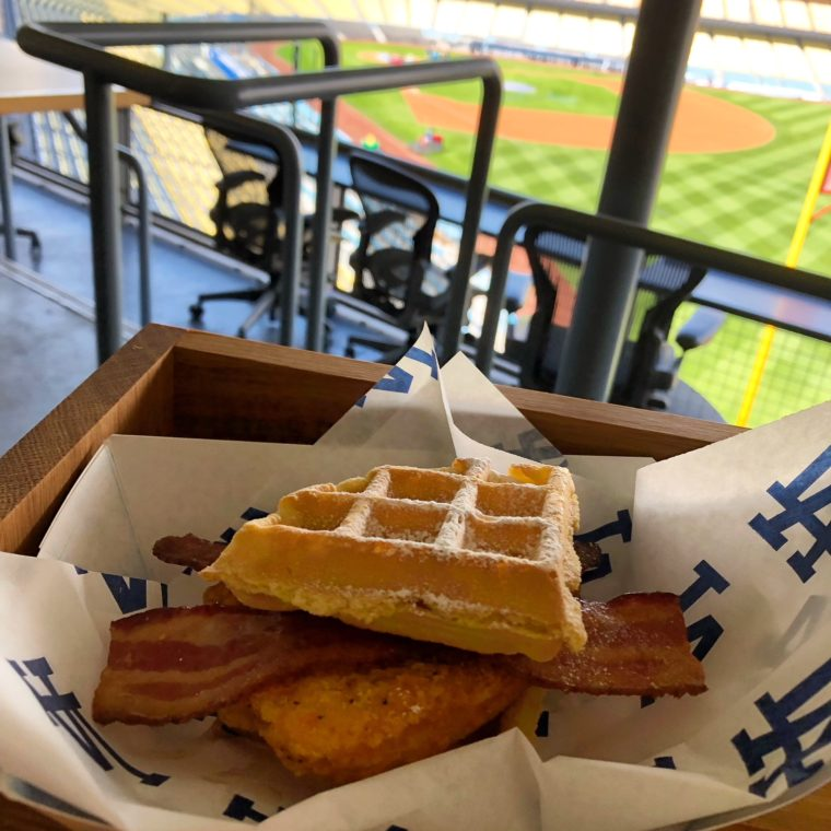 Chicken and Waffle Sammy at Dodger Stadium. #Gododgers #dodgers #baseball #ballparkfood #chickenandwaffles