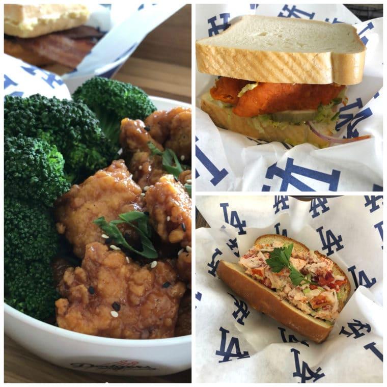 Orange chicken, spicy chicken sandwich and King's Hawiian Lobster Roll at Dodger Stadium. #Gododgers #dodgers #baseball #ballparkfood