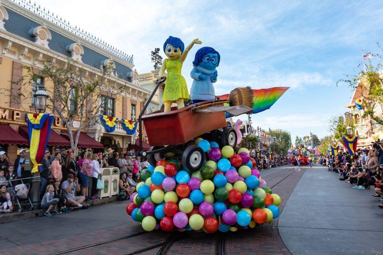 Joy and Sadness at the Pixar Play Parade in Downtown Disney