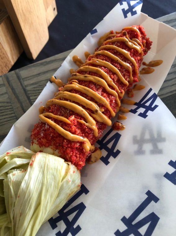 Cheet-o-lote, roasted sweet corn rolled in Flamin' hot Cheetos, at Dodger Stadium. #Gododgers #dodgers #baseball #ballparkfood #flaminhotcheetos