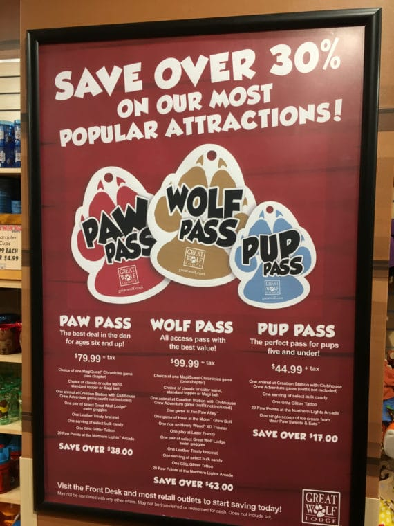 Paw Pass options at Great Wolf Lodge