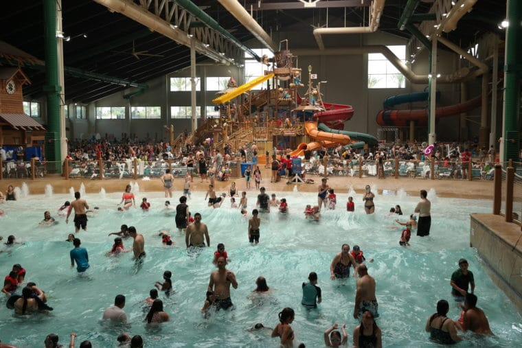Great Wolf Lodge water park filled with people