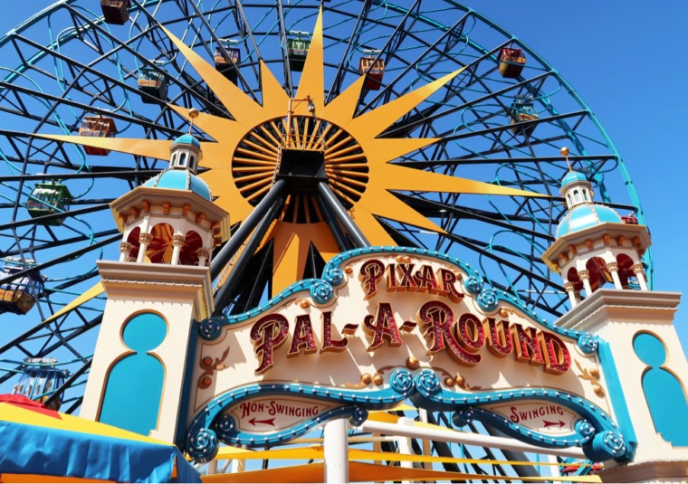 Pixar Pier at Disney California Adventure is now open! Families can ride the Incredicoaster, eat at the Lamplight lounge, play Pixar-themed carnival games and buy Pixar merchandise. #disneyland #pixarpier #pixarfest #californiaadventure #familytravel